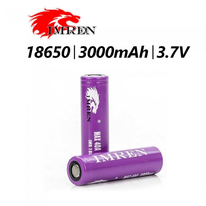 IMREN 18650 40A 3000mAh Battery 1pcs - PURPLE
